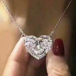 NEW 12CT Diamond Heart 925 Silver Necklace